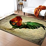 LBDecor 2x3ft Large Area Rugs for Living Room, Rustic Farmhouse Rooster Collection Area Runner Rugs Non Slip Bedroom Carpets Hallways Rug, Outdoor Indoor Nursery Rugs Décor, Chicken Farm