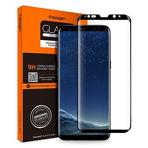 Spigen Samsung Galaxy S8 Plus Panzerglas, Schwarz, Volle Abdeckung, Easy Install Kit, 9H gehärtetes Glas, Antikratz, Glas 0.33mm, Galaxy S8 Plus Schutzfolie (571GL21780)