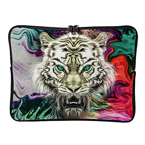 Watercolor Cartoon Tiger Tablet Carrying Case Waterproof High Capacity Zipper Multi-Color 10-17 Inch for Audlts White 10 Zoll
