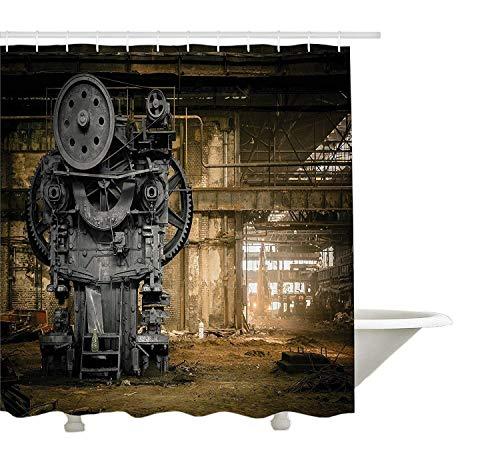 Yeuss Industriële Decor Collectie, Metallurgical Firm Wachten op een sloop rommelig stof Vintage Grote Stad Reparatie Afbeelding, Polyester Stof Badkamer Douchegordijn, Set met haken, Dimgrey 60