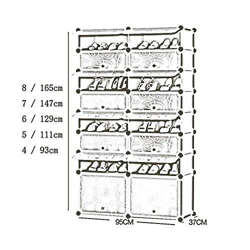 Schoenenrek multi-layer eenvoudige home Shoe hars draagbare opslag plank schoen stof deur woon slaapkamer kast transparant rijen 2 Pink multilayer Ruimtebesparend opbergrek (Size : 8)