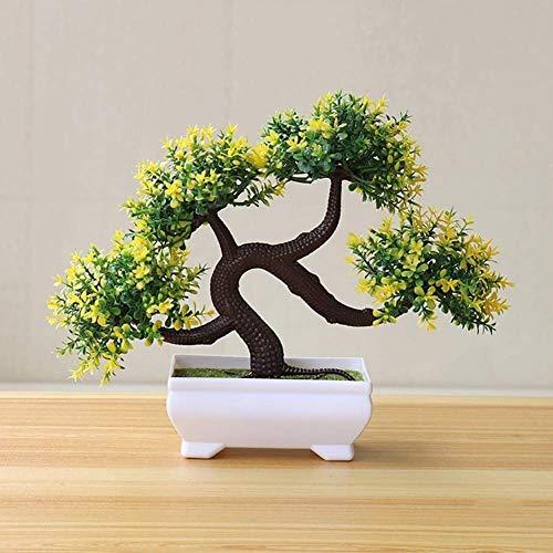 CLQya Planta artificial Bonsai, plantas artificiales simulado Bonsai en maceta, plástico Bonsai, plantas Mini creativo Pot árbol, la mejor decoración casera (color: amarillo),Amarillo