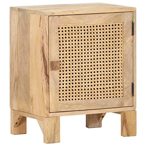 vidaXL Solid Mango Wood Bedside Cabinet Bedroom Living Room Furniture Wooden Side End Table Nightstand Bed Storage Cabinet Natural Cane