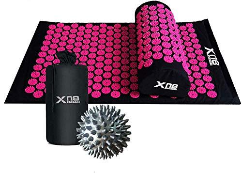 XN8 Akupressur set akupressurmatta med kudde och taggiga massagebollar bärväska för...