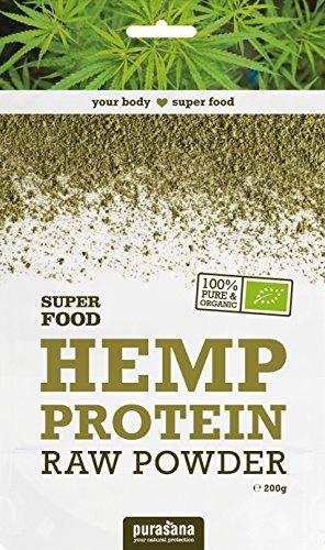 Protéines de chanvre Bio, qualité crues, sans additif - idéal pour Végétarien   200g   Purasana