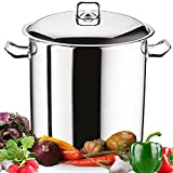 Large Deep Stainless Steel Induction Stock Pot Casserole Cooking Stockpot (17 Litre)