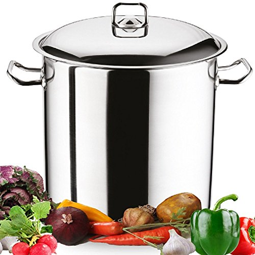 Large Deep Stainless Steel Induction Stock Pot Casserole Cooking Stockpot (14 Litre)