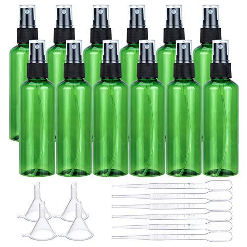 BENECREAT 12 Pack 100ml Botella de Aerosol Portátil de Plástico Color Verde Libre de BPA Vacía con 4 PCS Embudos y 6 PCS Cuentagotas para Aceites Esenciales y Aromaterapia