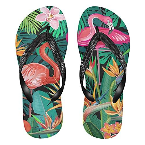 Mnsruu Tropische Blume Sommer Tier Flamingo Flip Flops Flip Flops Sandalen Home Hausschuhe Hotel Spa Schlafzimmer Reise XL für Männer Frauen