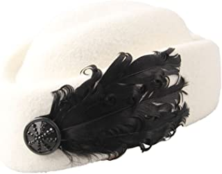 Dantiya Women's White Retro Wool Beret Cap with Feather