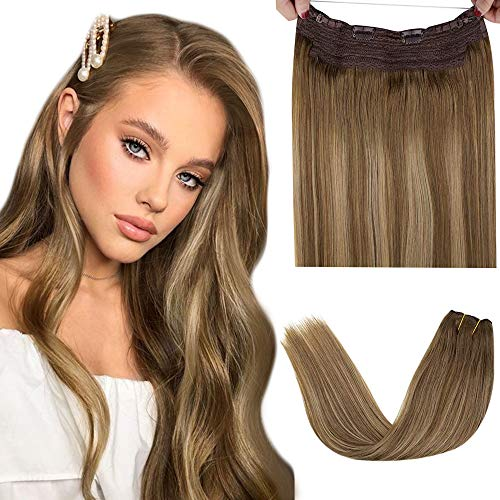 Halo Hair Extensions, Brown Halo Hair Extensions Human Hair Light Brown Fading to Golden Blonde with Brown Halo Human Hairpiece Balayage Halo Extensions with Secret Clips 100g 20' #8/16/8