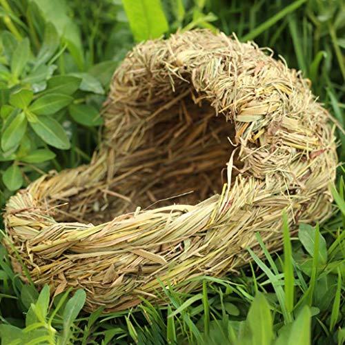 B Blesiya Vogelhäuschen Vogelnest Nistkasten zum aufhängen Deko Handgemachte Vogelhaus Futterhaus Futterspender aus Gras