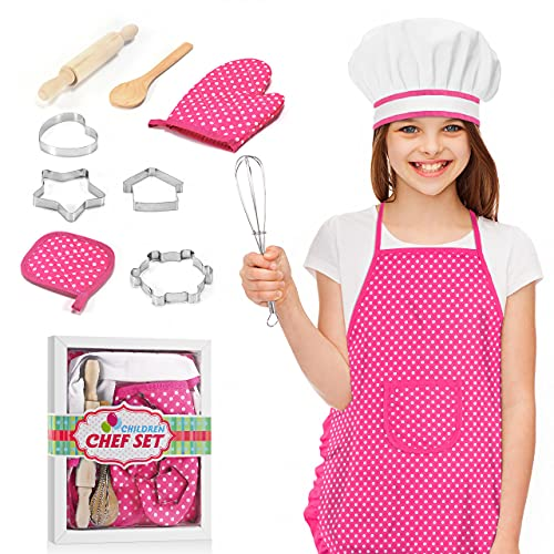 Tesoky Kids Cooking Set, 11 Pcs Birthday Gifts for 3-6 Year Old Girls Chef Role Play Includes Apron for Girls, Chef Hat, Cooking Mitt, Utensils, Festival Toys for 3-6 Year Old Girls (Pink)