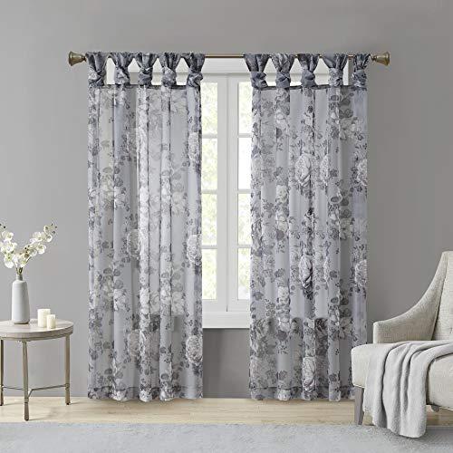 "Madison Park Simone Floral Design Sheer Window Curtain Voile Privacy Drape for Bedroom, Livingroom, 50"" x 84"", Grey"