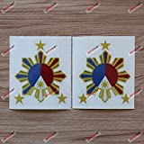 2X Reflective 4'' Eight-ray Sun Stars Philippines Flag Filipino Decal Sticker Car Vinyl