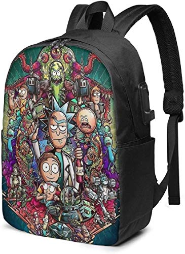 Ri-Ck and Mo-RTY Backpack Student Bag with USB Charging Port,17 in Travel Bag