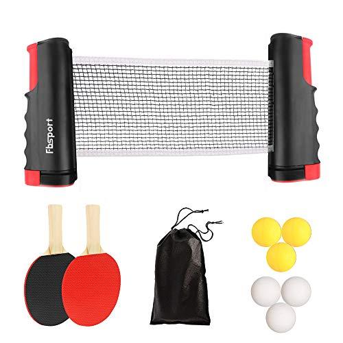 Sets de Ping Pong,Juego de Tenis de Mesa, Juego de Ping Pong,2 Raquetas de Tenis de Mesa,6 Pelotas de Ping-Pong,1 Red de Tenis de Mesa retráctil,1 Bolsa de Malla, para niños Adultos