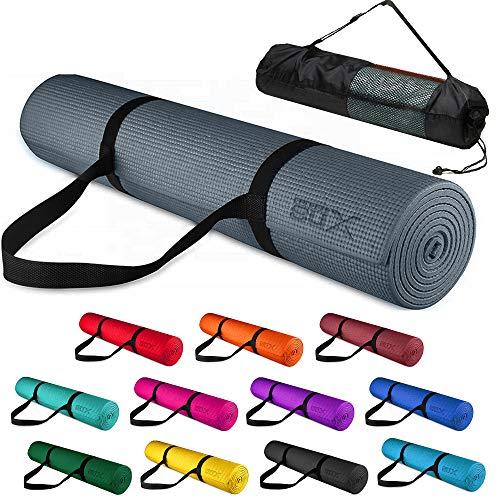 Xn8 Tappetino Yoga 6mm Di Spessore - Antiscivolo esercizio Tappetino per Palestra - Casa - Pilates - Aerobico - Fitness 183 x 63 x 0.6cm con Cinturino