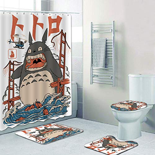 4 Pcs Totoro Shower Curtain Set with Non-Slip Rugs, Toilet Lid Cover and Bath Mat, Shower Curtain with 12 Hooks, Waterproof Fabric Cloth Polyester Bath Curtain Bathtub Curtains