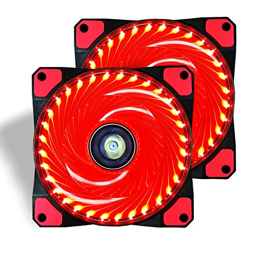 CONISY 120mm PC Case Cooling Fan Super Silent Computer LED High Airflow Cooler Fans - Red (2 Pack)