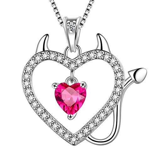 AuroraTears 925 Sterling Splitter Teufel Herz Halskette Nette Katze Anhänger Juli Birthstone Red Ruby Halsketten Schmuck Geschenk für Frauen und Mädchen DP0184R