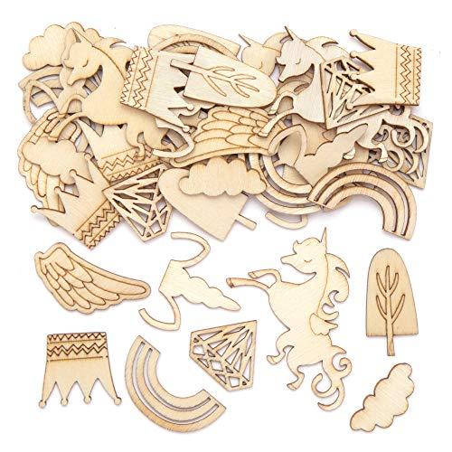 Baker Ross Einhorn Holzformen, für Kinder Kunsthandwerk Projekte (Packung mit 40 Stück)