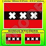 Amsterdam Flagge Niederlande, North Holland, Nederland (Dutch 10,2cm (100mm) Vinyl Bumper Aufkleber, Aufkleber X1+ 2Bonus