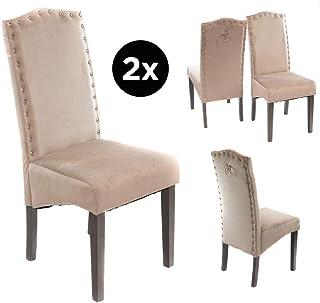 Juego de 2 sillas de Comedor de Poliuretano Kim – Patas de Roble – Dos Colores – Cocina, sillas de Comedor, Brown PU, Width: 430 Height: 900 Depth: 500