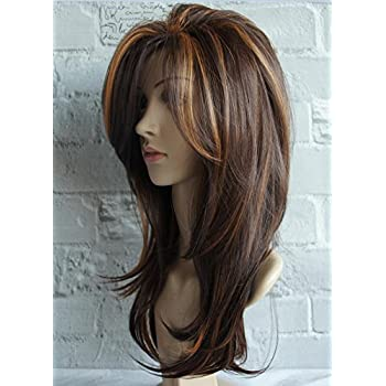Amazon Com Long Layered Shoulder Length Wig Light Brown Wig Synthetic Hair Fiber Highlight Multicolor Wigs For White Women Mixcolor 3 Beauty