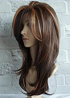 Long Layered Shoulder Length wig light brown wig Synthetic Hair Fiber Highlight Multicolor Wigs for White Women (Mixcolor 3)