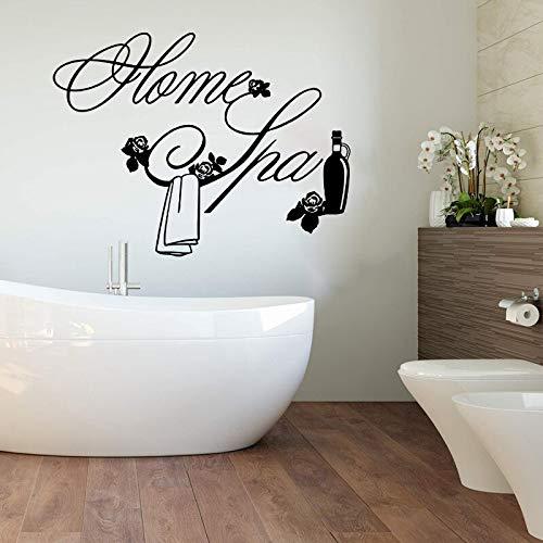 Dwzfme Adhesivos Pared Pegatinas de Pared Home SPA Flor Toalla Champú de Vidrio Family SPA Salon Window Baño Aseo Decoración de Vinilo 106x82cm