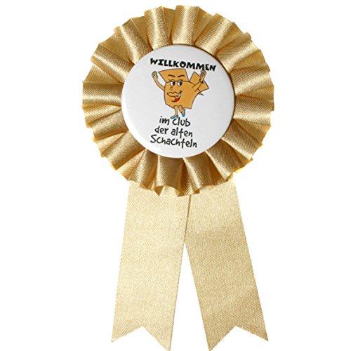 Preis am Stiel 1 Stück Ansteckbutton Club der Alten Schachteln | Geburtstag | Geburtstagsdekoration | Renteneintritt | Pensionierung | Orden | Geschenk | Glückwunsch | Rosette