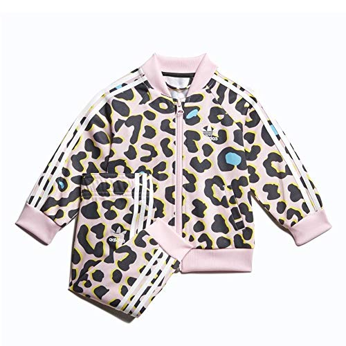 adidas Infant Toddler LZ Leopard Print SST Superstar Track Suit (Multicolor/Clear Pink/White) FM9992 (Size:9M)