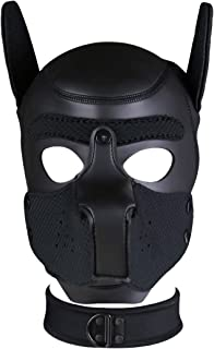 Unisex Costume Dog Head Mask with Collar, Neoprene Full Face Puppy Hood Cosplay Mask Choker Set