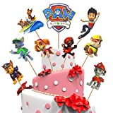 Yisscen 45 piezas de decoración para tartas de paw dog patrol, decoración para tartas, fiesta de cumpleaños, figuras de cupcake, decoración de cumpleaños para niños, decoración para magdalenas