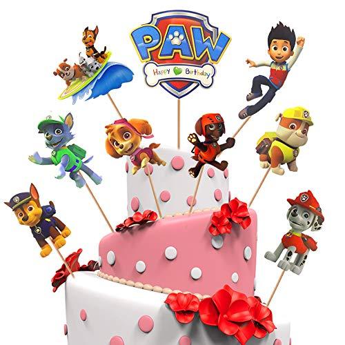 Yisscen 45pcs Paw Dog Patrol Kuchen Dekoration Supplies, Kuchen Topper, Geburtstags Party liefert Cupcake Figuren, Geburtstag tortendeko Junge, Muffin deko, kuchendeko, Kinder Baby Party Dekoration