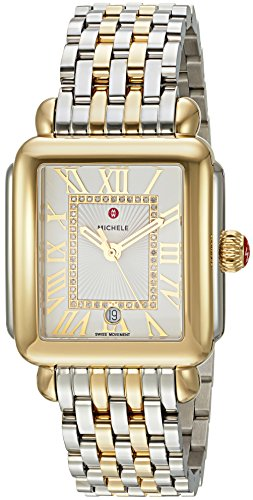MICHELE Women's 'Deco Madison' Swiss Quartz Stainless Steel Casual Watch, Color:Two-Toned (Model:...