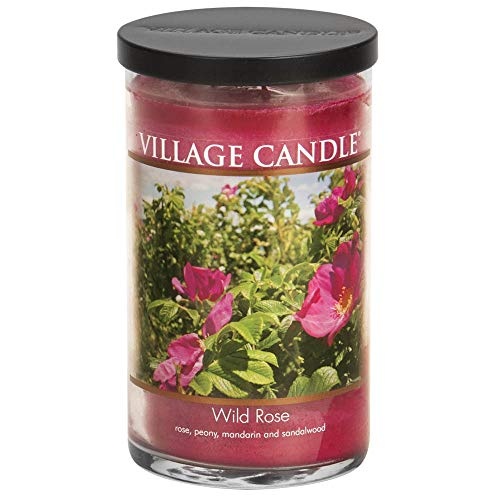 Village Candle Wild Rose Large Glass Apothecary Jar Scented Candle, 19 oz, Pink