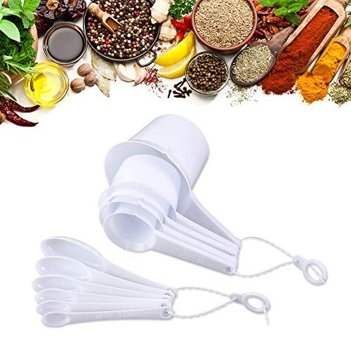Cucharas medidoras de plástico, 11 unidades, ligeras, fáciles de lavar para cocinar en la cocina