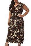Nemidor Women's Deep V-Neckline Sleeveless Vintage Plus Size Floral Print Summer Casual Maxi Long Dress NEM234 (24W, Black Print) (Apparel)