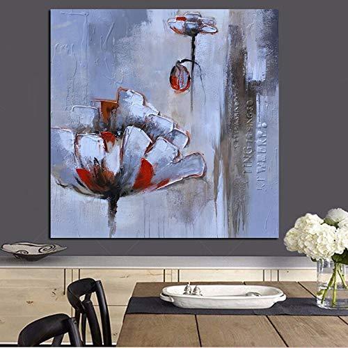 wZUN Imprimir Pintura al óleo Abstracta de Flores Rojas Blancas sobre Lienzo para la decoración de la Sala de Estar Pintura en la Pared del Cartel del Arte Pop 60x60 Sin Marco