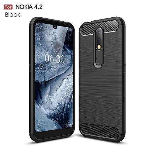 betterfon | Nokia 4.2 Hülle Carbon Erscheinungsbild Outdoor Stoßfeste Handy Tasche Hybrid Hülle Schutzhülle TPU Silikon Cover Bumper für Nokia 4.2 Schwarz