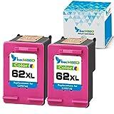 Inkwood 62XL - Cartuchos de tinta remanufacturados para HP 62 62XL compatibles con HP OfficeJet 250 HP OfficeJet 200, HP Envy 5540 5640 7640 5646 5546, HP Officejet 5740 5742 (2 colores)