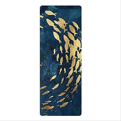 Yogamat met patroon van natuurlijk rubber fitnessmat opvouwbare microvezel draagbaar antislip fitness 185 x 68 x 0,15 cm Shenyu Luoyan