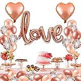 MMTX 42 Pack Foil Globos de corazón de Helio Amor, Globos de látex de Oro Rosa en lámina de Oro para el día de San Valentín, Despedida de Soltera, Bodas,Día de la Madre