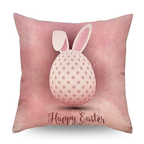 Happy Bunny Rabbit Creative Kussenhoes Animal Office Slaapkamer Kussenhoes Happy Easter Kussen Linnen Sierkussen Case 45 * 45 Cm Oranje