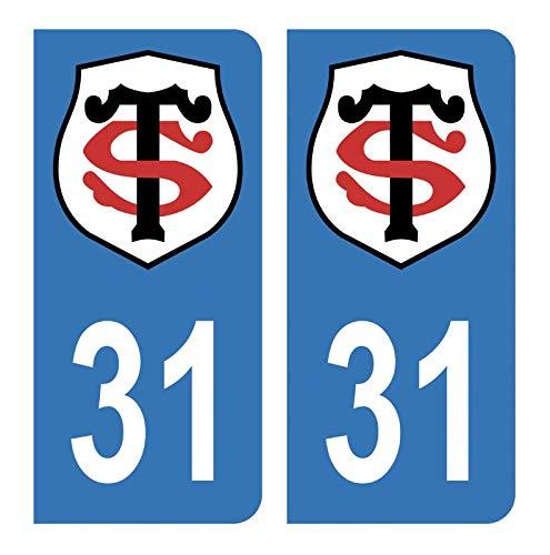 Générique Autocollants Stickers Plaque immatriculation Voiture Auto 31 Club Stade Toulousain Rugby Bleu