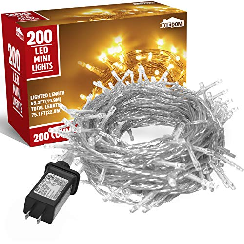 200 Counts Warm White LED Christmas Light (8 Modes), Warm White LED Xmas String Lights for Indoor or Outdoor Christmas Decorations