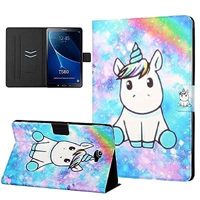 CasaFuny Funda para Samsung Galaxy Tab A 10.1'' 2016(SM-T580/T585/T587),Case Carcasa con Soporte Función y Bolsillo de Documento,Auto-Sueño/Estela para Galaxy Tab A6 2016 10.1 Pulgadas,Unicornio