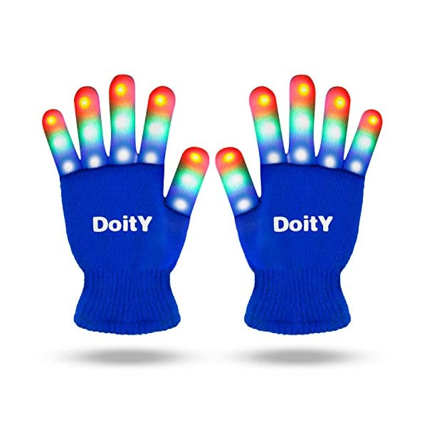 DoitY LED Gloves for Kids, LED Flashing Light Up Gloves with 6 Flash Modes 3 Colors for Kids Teens/Parties/Dance Costumes